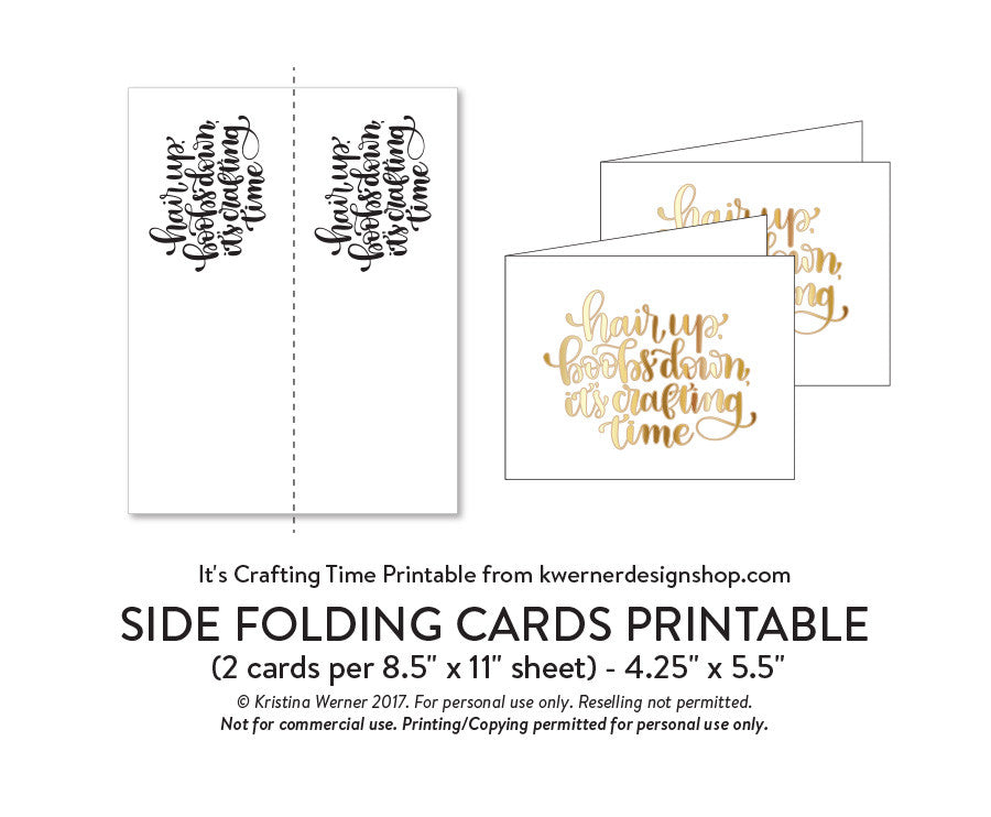 DIY Foil - It's Crafting Time Printable PDF (8 5x11, 5x7, 4x6, and A2 cards)