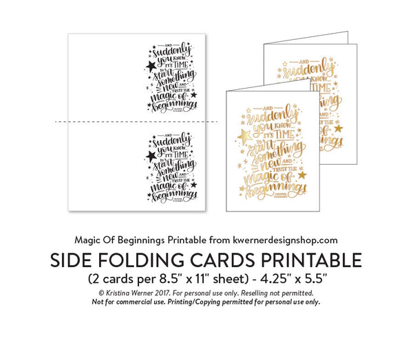DIY Foil - Magic of Beginnings Printable PDF (8.5x11, 5x7, 4x6, and A2 cards)