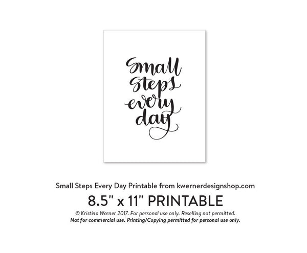 DIY Foil - Small Steps Every Day Printable PDF (8.5x11, 5x7, 4x6, and A2 cards)