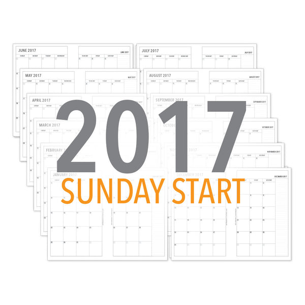 PlanThis Month-on-2-Pages Planner Pages (SUNDAY START) - 2017 (Half-Letter)