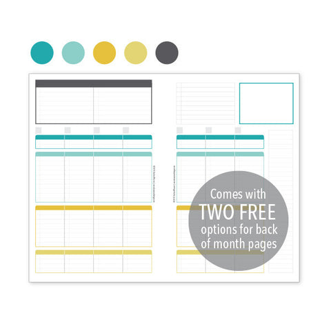 PlanThis Week-on-2-Pages Planner Pages - Aqua Gold Uneven Daily Sections (Half-Letter)