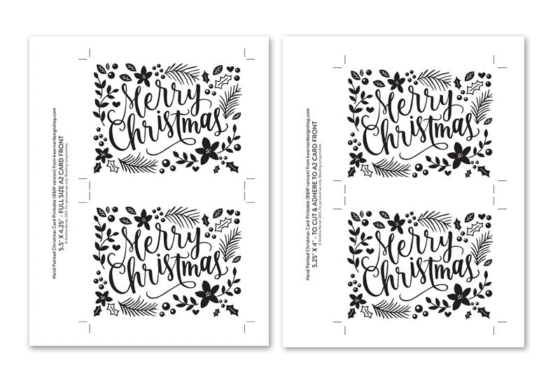 image relating to Printable Photo Christmas Card named Do it yourself Foil - Hand Painted Xmas Card Printable (black edition)