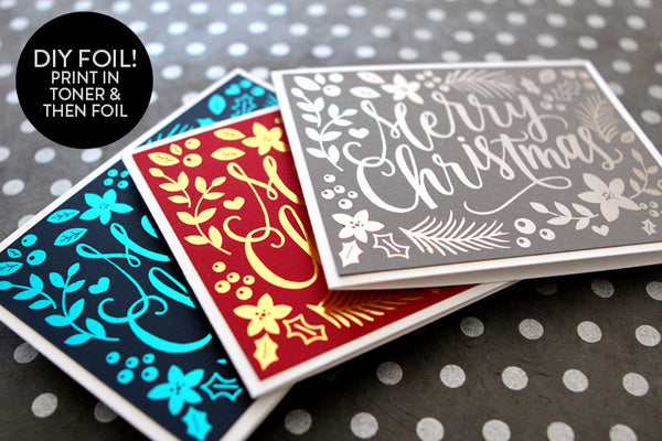 DIY Foil - Hand Painted Christmas Card Printable (black version)