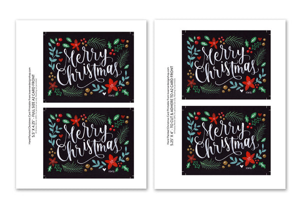 Hand Painted Christmas Card Printable