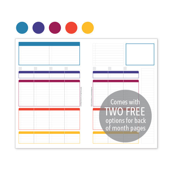 PlanThis Week-on-2-Pages Planner Pages - Jewels Uneven Daily Sections (Half-Letter)