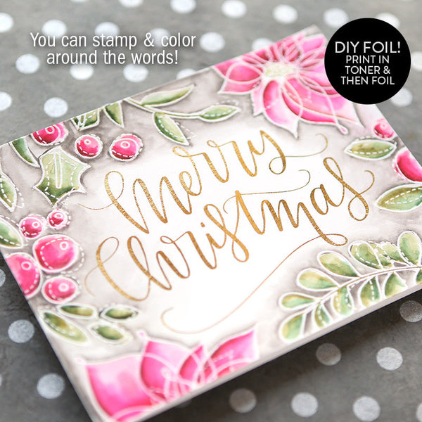 DIY Foil - Merry Christmas A2 Card (Delicate Version)