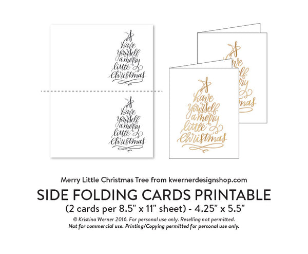 DIY Foil - Merry Little Christmas Tree A2 Card
