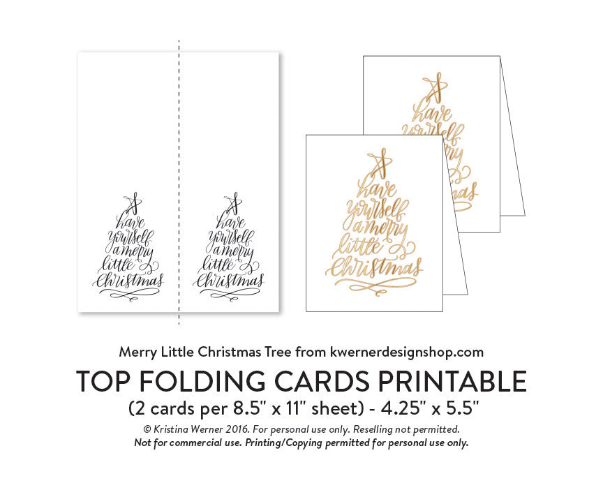 diy foil merry little christmas tree a2 card