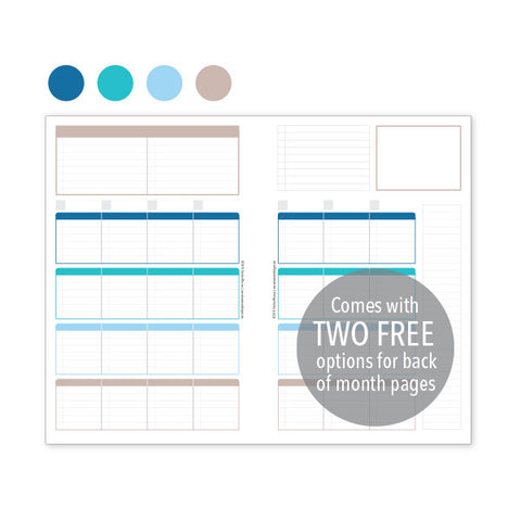 PlanThis Week-on-2-Pages Planner Pages - Ocean (Half-Letter)