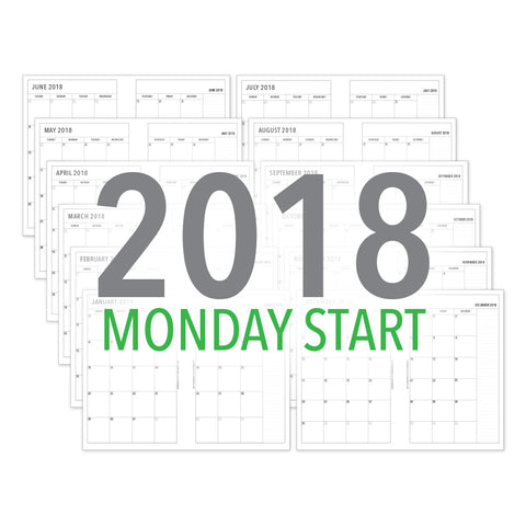 PlanThis Month-on-2-Pages Planner Pages (MONDAY START) - 2018 (Half-Letter)