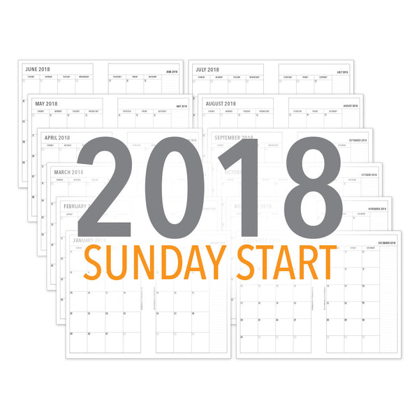 PlanThis Month-on-2-Pages Planner Pages (SUNDAY START) - 2018 (Half-Letter)