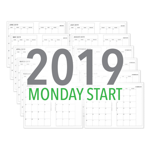 PlanThis Month-on-2-Pages Planner Pages (MONDAY START) - 2019 (Half-Letter)