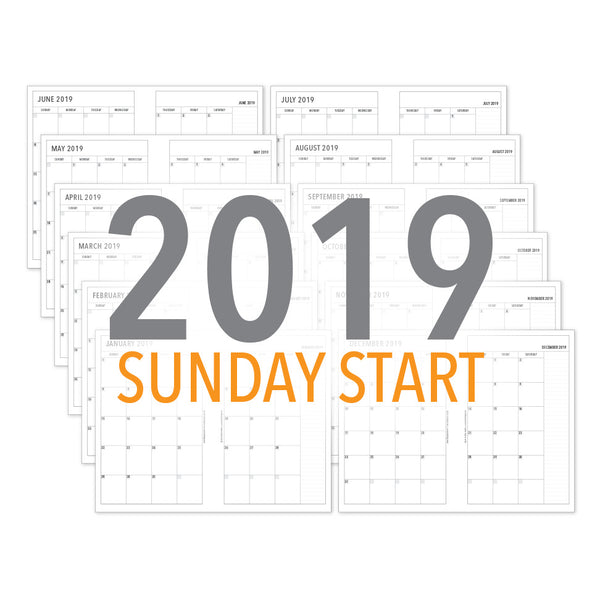 PlanThis Month-on-2-Pages Planner Pages (SUNDAY START) - 2019 (Half-Letter)