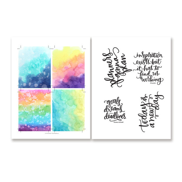 PlanThis DIY Watercolor Foil Planner 3x4 Cards (PDF files)