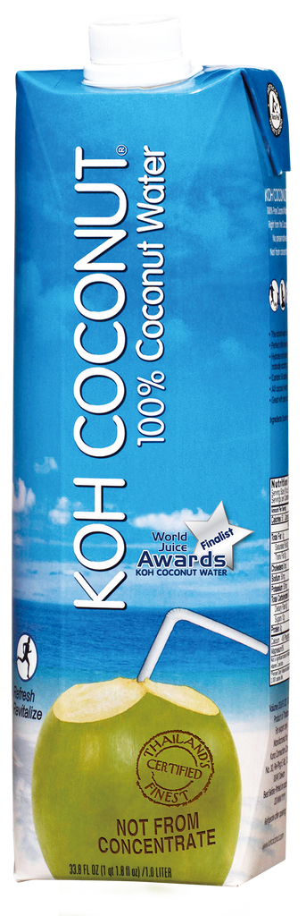 KOH COCONUT - Award Winning - 100% Coconut Water - 12 pack (33.8 FL. OZ. / 1 QT. 1.8 FL. OZ. / 1.0 LITER tetra paks)