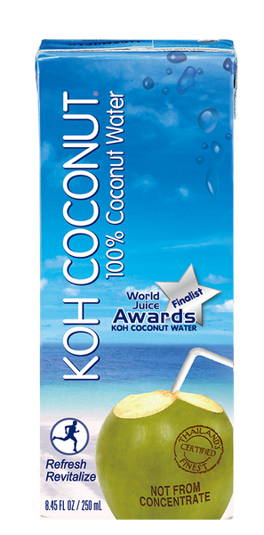 KOH COCONUT - Award Winning - 100% Coconut Water (Juice Boxes) - 24 Pack (8.45 FL. OZ. / 250 ml) w/Straw