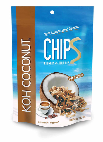 KOH COCONUT Coconut Chips Espresso 40g (12 Pack)