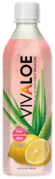 VIVALOE - Pink Lemonade Aloe  - 12 Pack (16.9 FL. OZ. / 500 mL plastic bottles)
