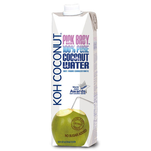 KOH COCONUT - Award Winning - 100% Pure Pink Baby Coconut Water - 12 pack (33.8 FL. OZ. / 1 QT. 1.8 FL. OZ. / 1.0 LITER tetra paks)