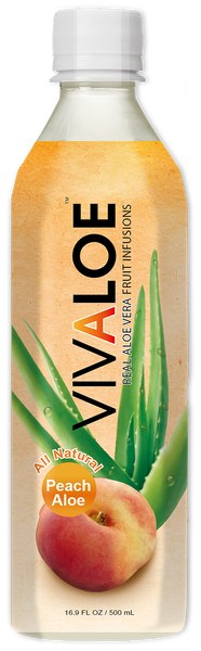 VIVALOE - Peach Aloe  - 12 Pack (16.9 FL. OZ. / 500 mL plastic bottles)
