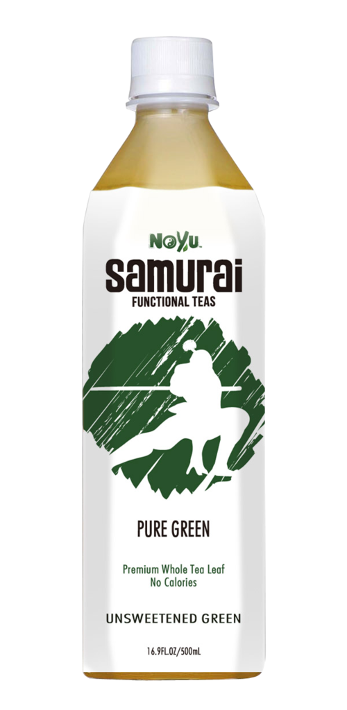 NOYU SAMURAI - Pure Green - Unsweetened Green Tea - 12 Pack (16.9 FL. OZ. / 500 mL plastic bottles)