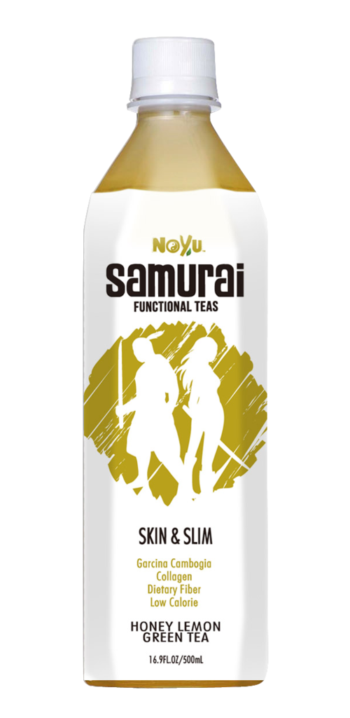 NOYU SAMURAI - Skin & Slim - Honey Lemon Green Tea - 12 Pack (16.9 FL. OZ. / 500 mL plastic bottles)