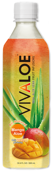 VIVALOE - Mango Aloe  - 12 Pack (16.9 FL. OZ. / 500 mL plastic bottles)