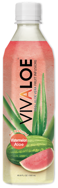VIVALOE - Watermelon Aloe  - 12 Pack (16.9 FL. OZ. / 500 mL plastic bottles)