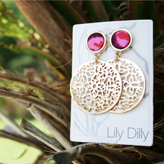 Filigree Dangle Earrings in Plumwine