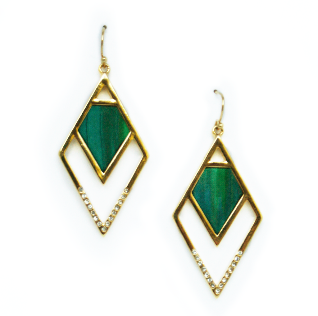 Angled Statement Earrings in Atlantis