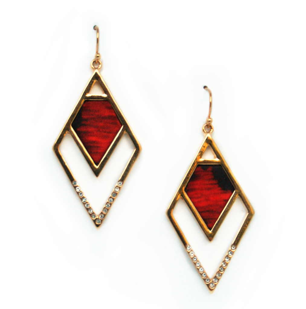 Angled Statement Earrings in Flamenco