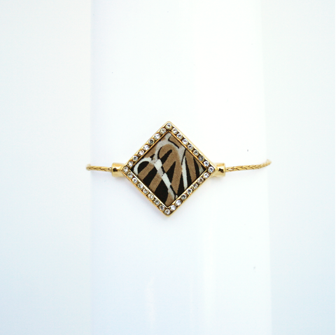 Lily Dilly Delicate Drawcord Bracelet in Gold/Parasol Print