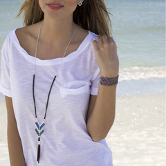 Adjustable Leather Tassel Necklace in West Palm