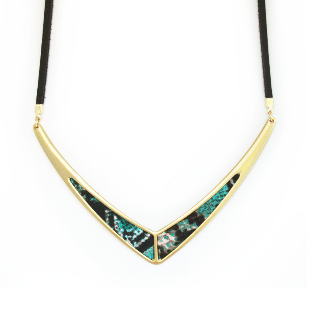V Leather Statement Necklace in Everglades