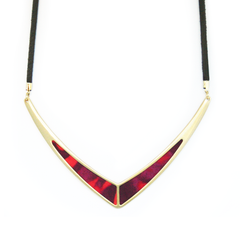 V Leather Statement Necklace in Wildfire