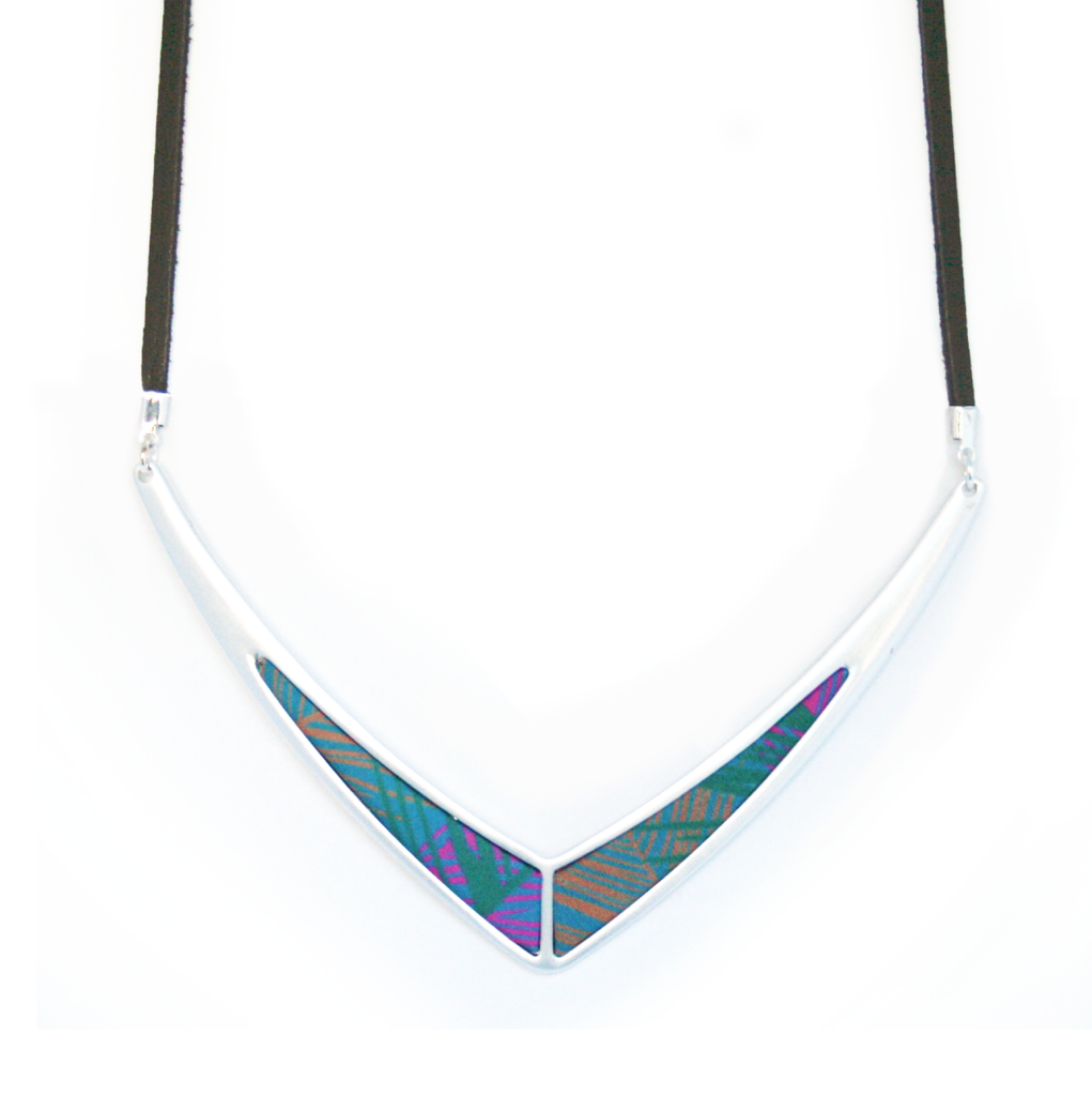 V Leather Statement Necklace in West Palm