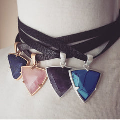 Reversible Brown Leather Choker Necklace with Lapis Charm