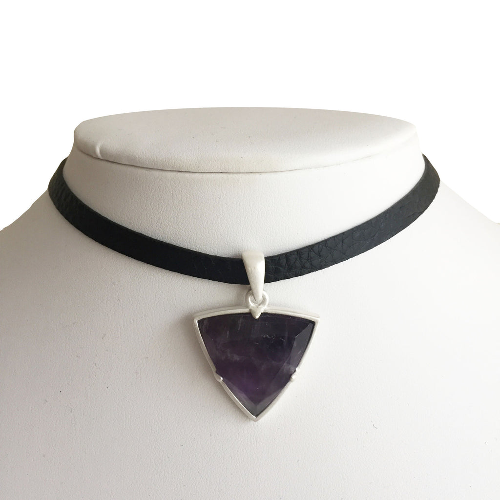 Reversible Black Leather Choker Necklace with Amethyst Charm
