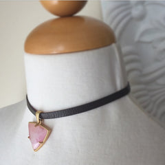 Reversible Brown Leather Choker Necklace with Rose Quartz Charm