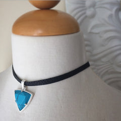 Reversible Black Leather Choker Necklace with Turquoise Charm
