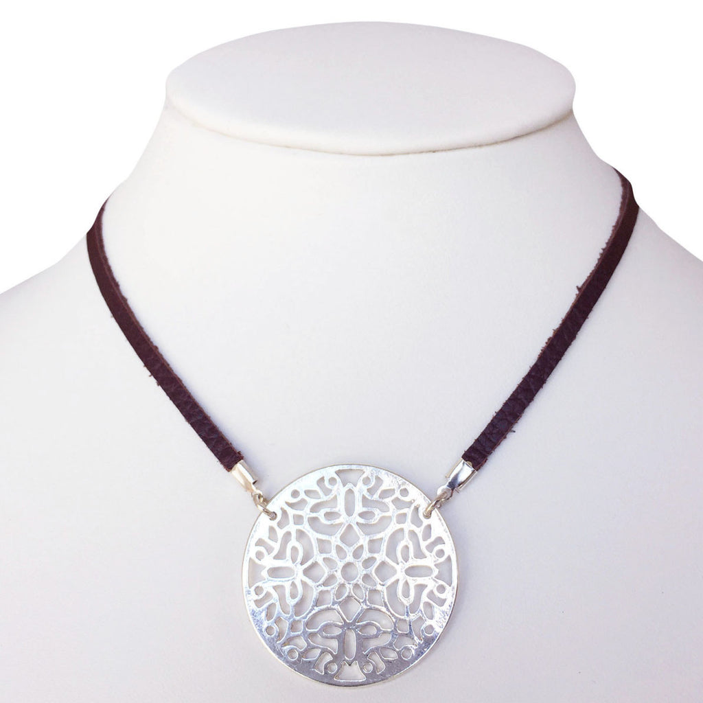 Filigree Medallion Leather Necklace (Silver/Brown)