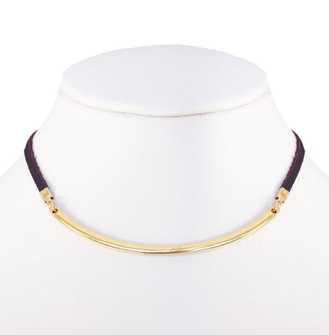 Adjustable Curved Bar Leather Necklace (Gold/Brown)
