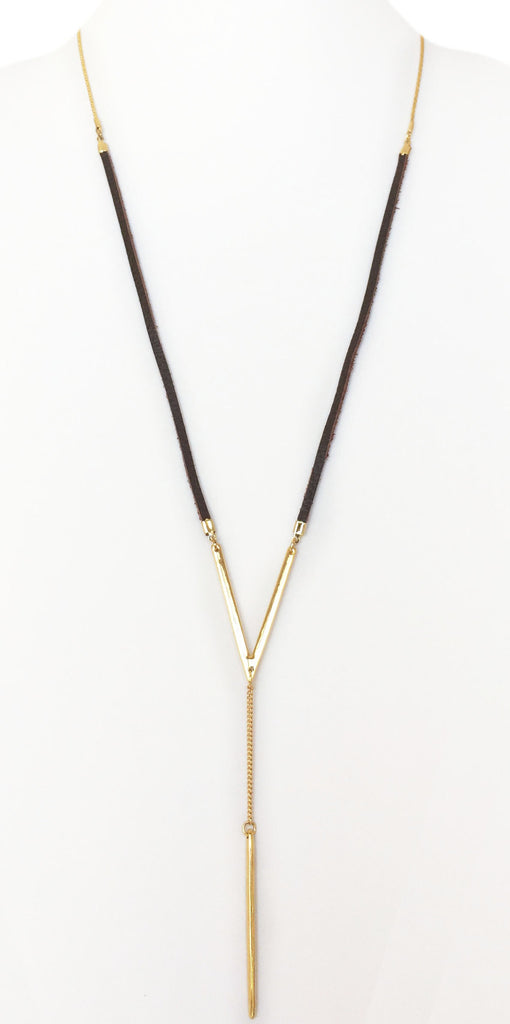 Adjustable Spike Pendant Leather Necklace (Gold/Brown)