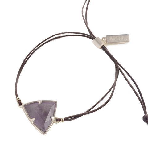 Lily Dilly Trillion Drawcord Bracelet in Silver/Amethyst