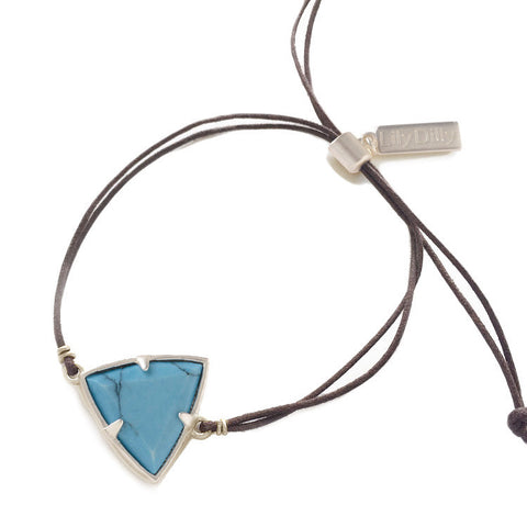 Lily Dilly Trillion Drawcord Bracelet in Silver/Turquoise