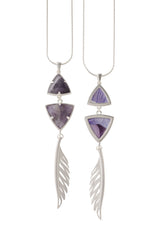 Adjustable Feather Pendant Necklace in Amethyst