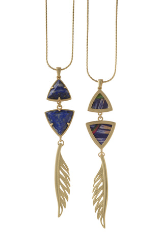 Adjustable Feather Pendant Necklace in Lapis