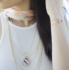Reversible Cascading Layered Necklace in Rose'