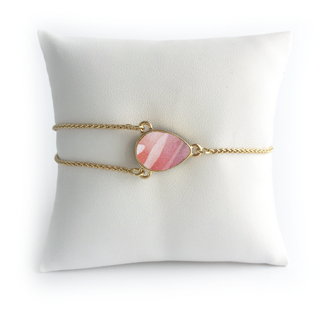 Lily Dilly Reversible Drawcord Pear Bracelet in Gold/Rose Print