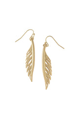 Feather Earrings in Matte Gold